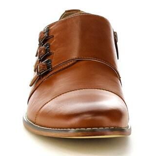 UV SIGNATURE EA27 Men's Chic Cap Toe Monk Strap Dress Shoes