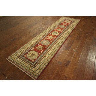 HQ Super Kazak Runner Hand-knotted Wool Red Oriental Border Area Rug (2'8 x 9'3)