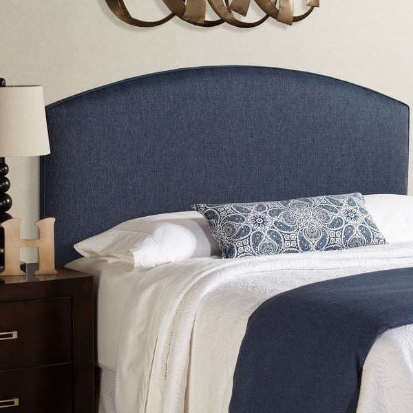 Humble + Haute Bingham Queen Size Navy Blue Curved Upholstered Headboard