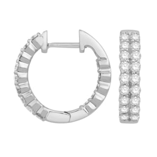 Eloquence 14k White Gold 3ct TDW Diamond Multi-Row Hoop Earrings (H-I, I1+-I1)