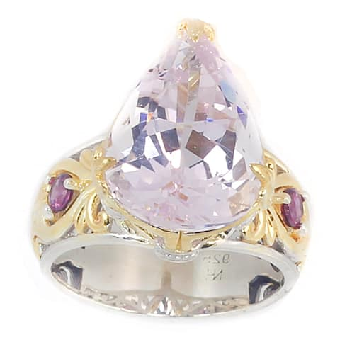 Michael Valitutti Palladium Silver Pearshaped Kunzite & Rhodolite Ring