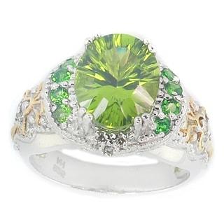Michael Valitutti Peridot, Chrome Diopside & Diamond Ring