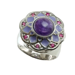 One-of-a-kind Michael Valitutti Purple & Pink Amethyst Enamel Ring