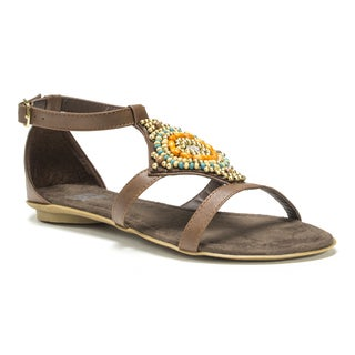 Muk Luks Women's Brown Lisa Beaded Sandals