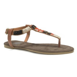 Muk Luks Women's Brown Jennifer Beaded Sandals