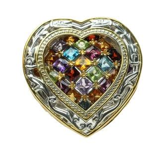 Michael Valitutti Multi-Sapphire Heart Ring