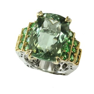 Michael Valitutti Silver Cushion Green Amethyst with Round Tsavorite Ring
