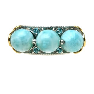 Michael Valitutti Silver Larimar & Swiss Blue Topaz Ring
