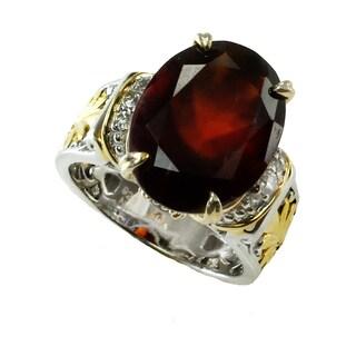 Michael Valitutti Hessonite Garnet & White Zircon Silver Ring