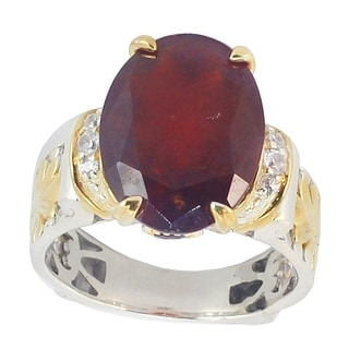 Michael Valitutti Hessonite Garnet & White Zircon Silver Ring