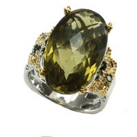 Michael Valitutti Olive Quartz & Green Tourmaline Ring