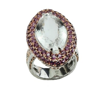 One-of-a-kind Michael Valitutti Rock Crystal & Rhodolite Silver Ring