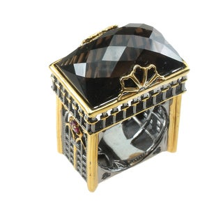 Michael Valitutti Smokey Quartz & Ruby Ring
