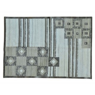 Modern Nepali Undyed Natural Wool Hand-knotted Oriental Rug (5'6 x 8')