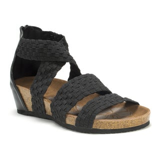Muk Luks Women's Black Elle Wedge Sandals