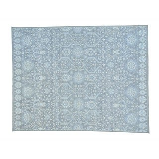 Hand-knotted Pure Wool Ikat Geometric Design Oriental Rug (9'2 x 11'9)