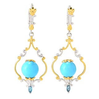 Michael Valitutti Sleeping Beauty Turquoise & London Blue Topaz Earrings