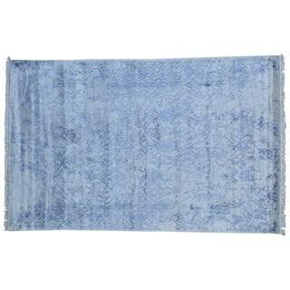 Rayon from Bamboo Silk Handmade Modern Broken Design Oriental Rug (6' x 9'5)