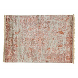 Modern Broken Design Rayon from Bamboo Silk Hand-knotted Rug (5' x 7'1)