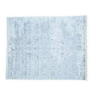 Modern Broken Design Rayon from Bamboo Silk Handmade Oriental Rug (8' x 9'9)