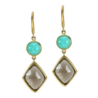 One-of-a-kind Michael Valittuti Amazonite & Smokey Quartz Drop Earrings