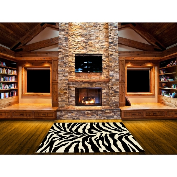 Lyke Home Hand Carved Zebra Skin Animal Print Area Rug 8
