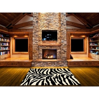 LYKE Home Hand-carved Zebra Skin Animal Print Area Rug (8' x 11') - 8' x 11'