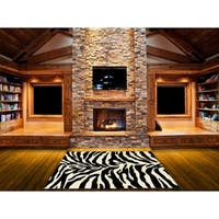LYKE Home Hand-carved Zebra Skin Animal Print Area Rug - 8' x 11'
