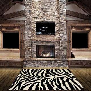 LYKE Home Hand-carved Zebra Skin Animal Print Area Rug (5' x 7')