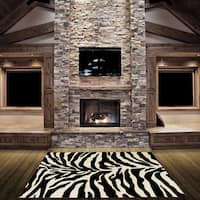 LYKE Home Hand-carved Zebra Skin Animal Print Area Rug - 5'3 x 7'2