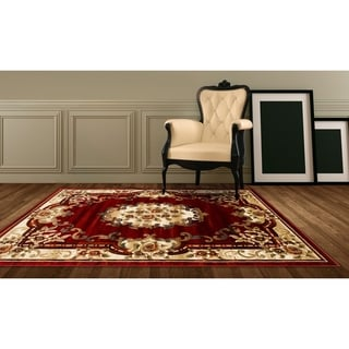 LYKE Home Hand-carved Red Traditional Area Rug (5' x 7')