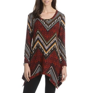 Sunny Leigh Women's Mixed Chevron Printed Tunic
