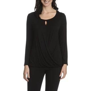 Sunny Leigh Women's Black Faux Wrap Top