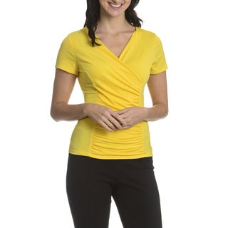 Sunny Leigh Women's Faux Wrap Rouching Top