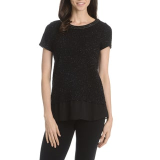 Sunny Leigh Women's Textured Short Sleeve Top