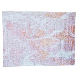 Rayon from Bamboo Silk Modern Abstract Design Handmade Oriental Rug (9' x 12')