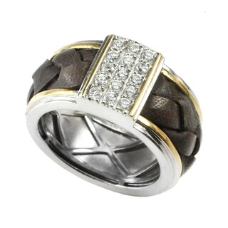Michael Valitutti Silver Cubic Zirconia & Leather Mens Ring