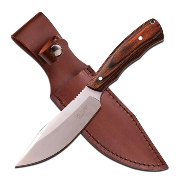 Elk Ridge Fixed Blade Knife 10.6-inch Dark Brown Wood Handle