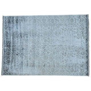 Rayon from Bamboo Silk Modern Broken Design Oriental Rug Handmade (8'10 x 12'5)