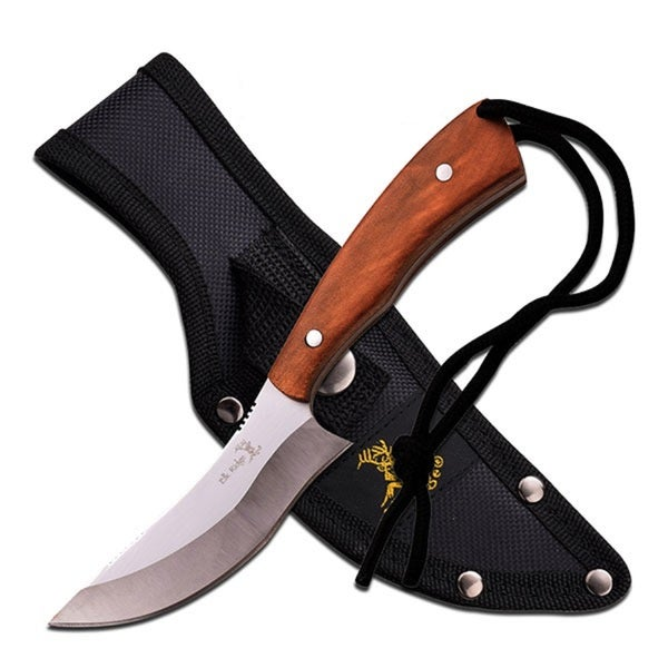 Elk Ridge Fixed Blade Knife 7.6-inch Maple Wood Handle w/ Sheath