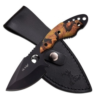 Elk Ridge Fixed Knife 7.25-inch 3.5-inch Black SS Blade Camo Handle