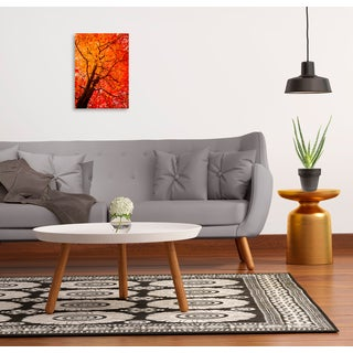 Gallery Direct Colorful orange and red maple tree in Autumn, vertical composition Print on Birchwood Wall Art