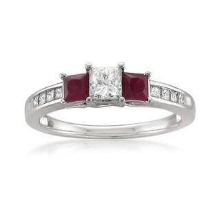 Montebello 14k White Gold 5/8ct TDW Princess-cut White Diamond and Ruby 3-stone Engagement Ring (J-K, I1-I2)