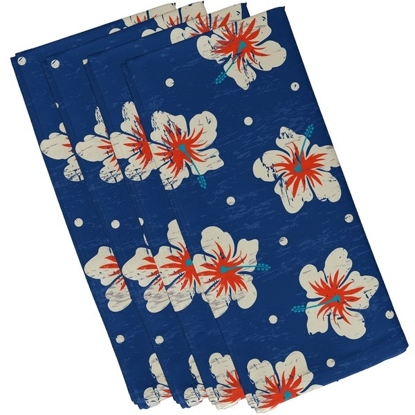 Hibiscus Blooms Floral Print 19-inch Napkins (Set of 4)