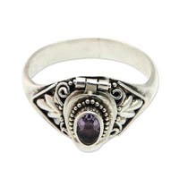 Handmade Sterling Silver 'Mysterious Garden' Amethyst Ring (Indonesia)