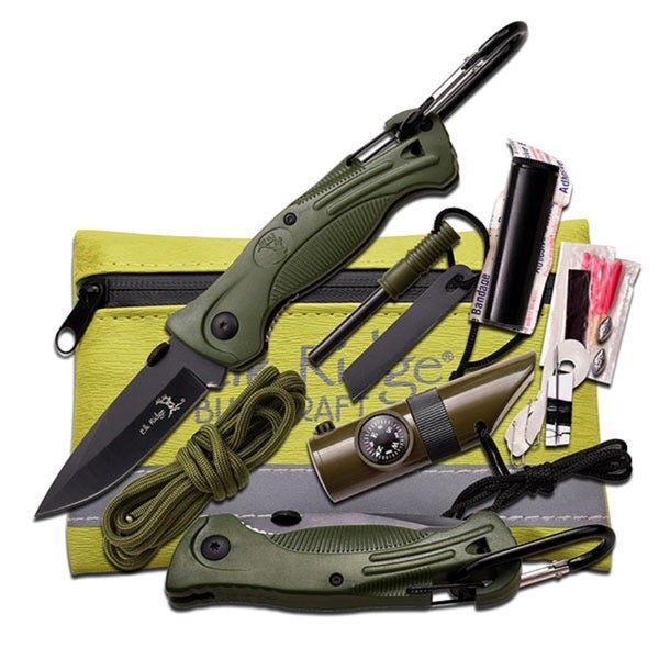Elk Ridge Green Survival Kit 5-inch x 4.25