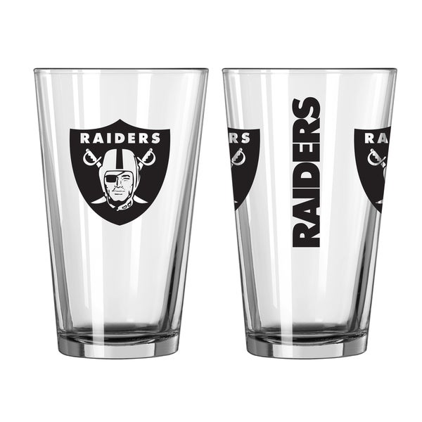 Shop Oakland Raiders Game Day Pint Glass 2 Pack Free