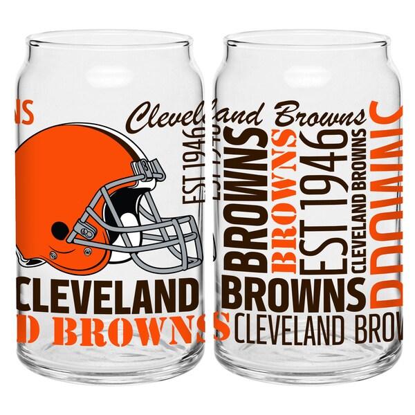 Cleveland Browns 16-Ounce Glass Spirit Glass Set