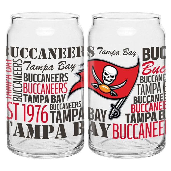 Tampa Bay Buccaneers 16-Ounce Glass Spirit Glass Set