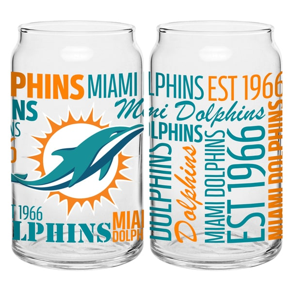 Miami Dolphins 16-Ounce Glass Spirit Glass Set